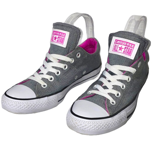 Converse 8 Grey Pink Lined All Star Low Sneakers